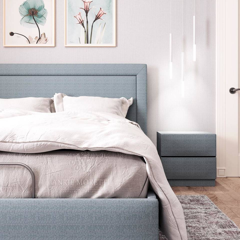 кровать серо голубого цвета с трансформируемым основанием